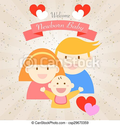 Welcome newborn baby happy family csp29670359