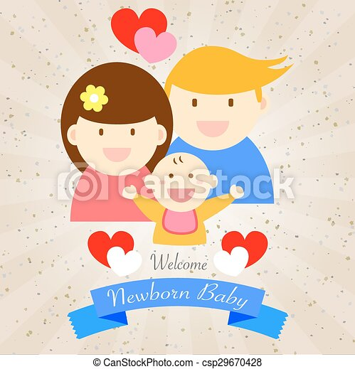 Welcome newborn baby happy family csp29670428