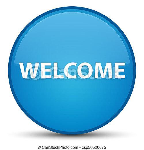Welcome special cyan blue round button - csp50520675