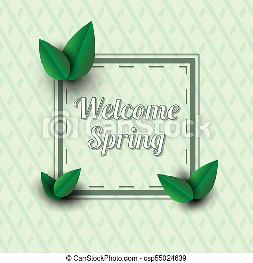 Welcome Spring Text In A Frame With Decor Elements Welcome Spring