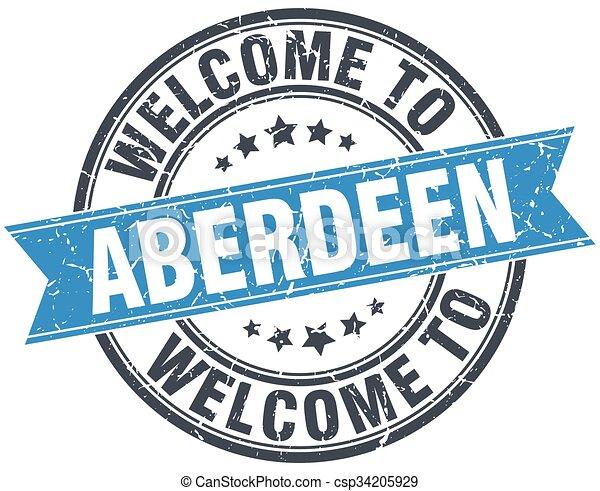 welcome to Aberdeen blue round vintage stamp - csp34205929