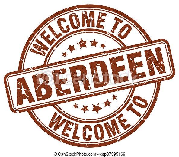 welcome to Aberdeen brown round vintage stamp - csp37595169