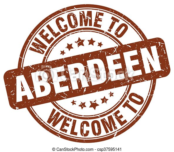welcome to Aberdeen brown round vintage stamp - csp37595141