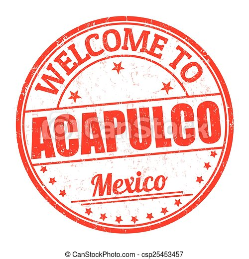 Welcome to Acapulco stamp - csp25453457