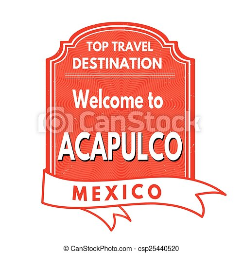 Welcome to Acapulco stamp - csp25440520
