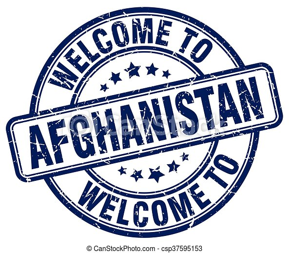 welcome to Afghanistan blue round vintage stamp - csp37595153