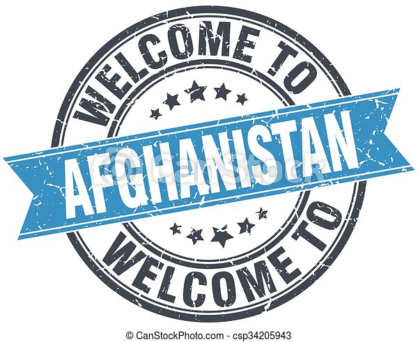 welcome to Afghanistan blue round vintage stamp - csp34205943