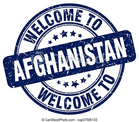 welcome to Afghanistan blue round vintage stamp - csp37595133
