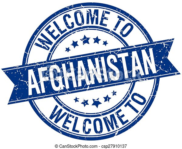 welcome to Afghanistan blue round ribbon stamp - csp27910137