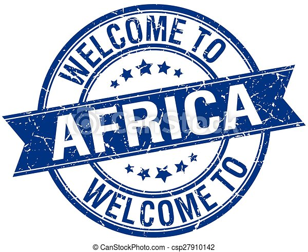 welcome to Africa blue round ribbon stamp - csp27910142