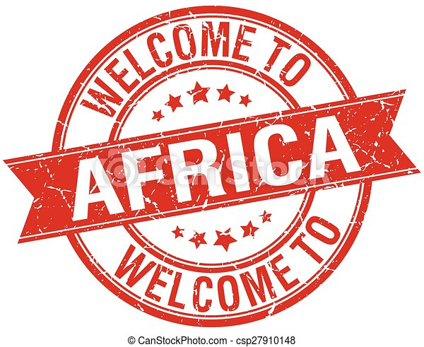 welcome to Africa red round ribbon stamp - csp27910148