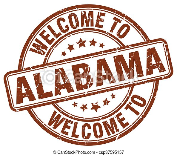 welcome to Alabama brown round vintage stamp - csp37595157