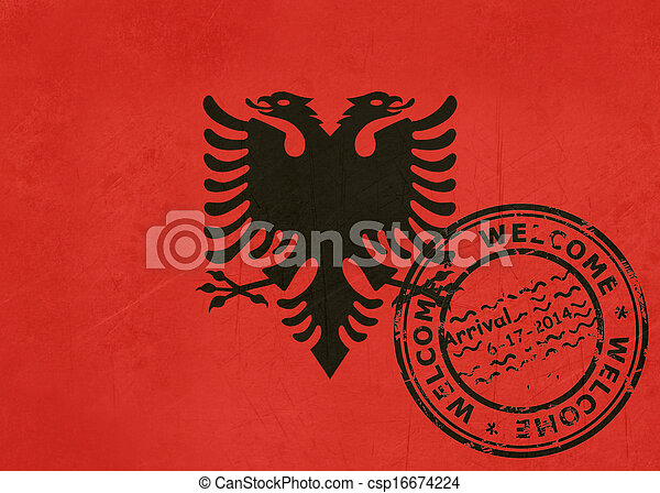 Welcome to Albania flag with passport stamp - csp16674224