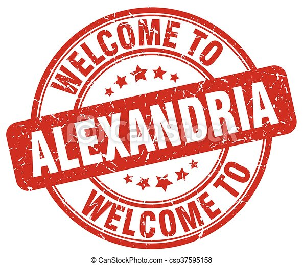 welcome to Alexandria red round vintage stamp - csp37595158