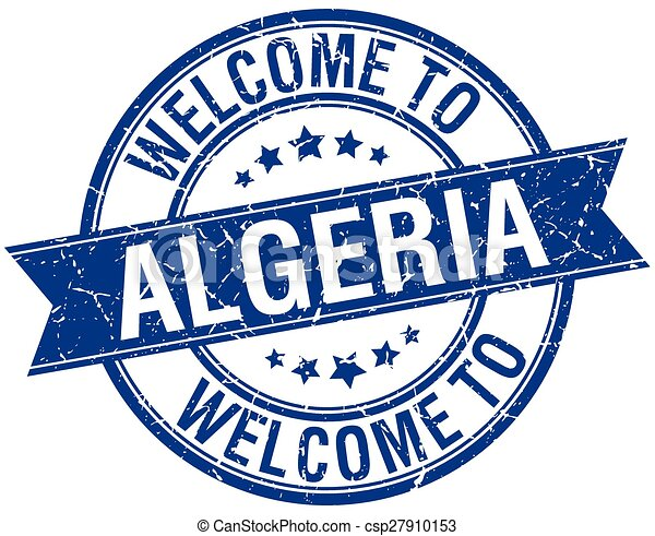 welcome to Algeria blue round ribbon stamp - csp27910153
