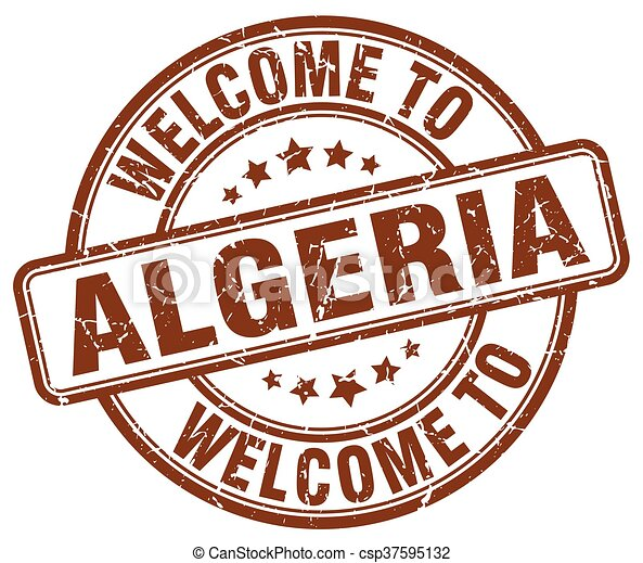 welcome to Algeria brown round vintage stamp - csp37595132
