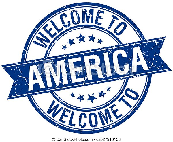 welcome to America blue round ribbon stamp - csp27910158