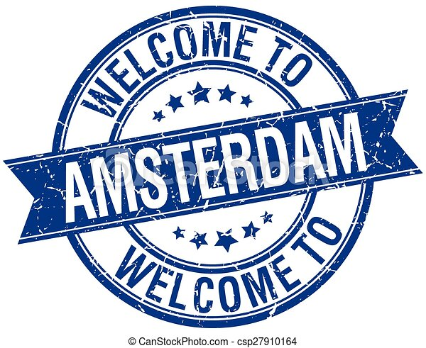 welcome to Amsterdam blue round ribbon stamp - csp27910164