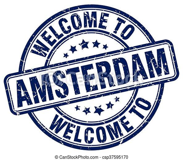 welcome to Amsterdam blue round vintage stamp - csp37595170