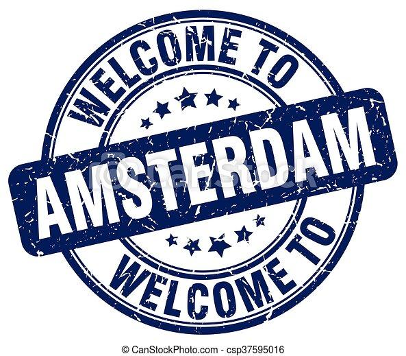 welcome to Amsterdam blue round vintage stamp - csp37595016