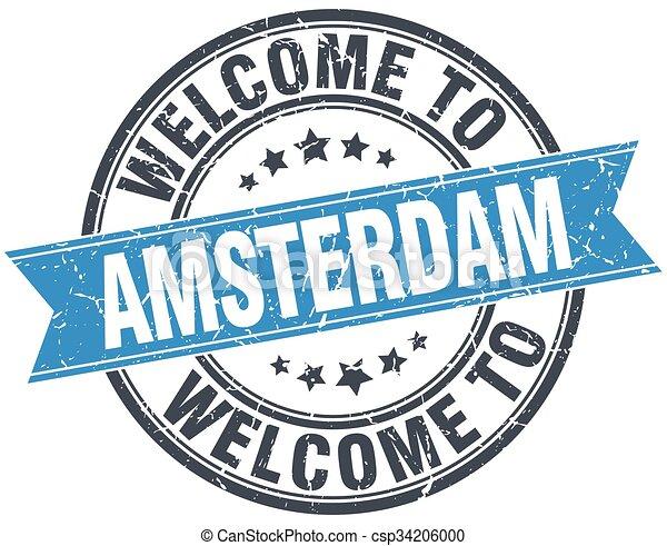 welcome to Amsterdam blue round vintage stamp - csp34206000