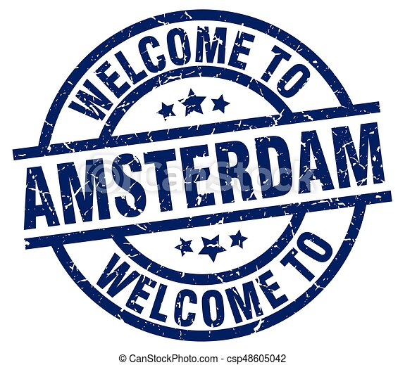 welcome to Amsterdam blue stamp - csp48605042