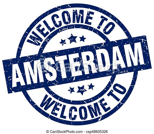 welcome to Amsterdam blue stamp - csp48605326