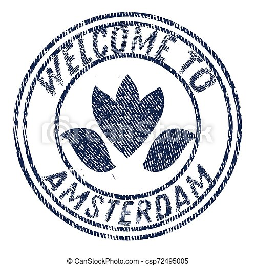 Welcome to Amsterdam flat color illustration on white - csp72495005