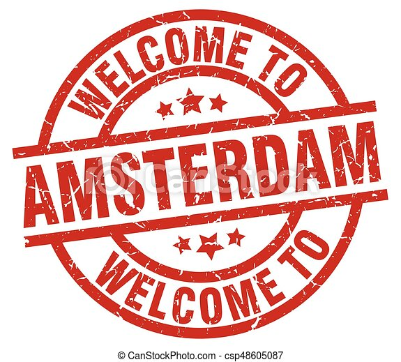 welcome to Amsterdam red stamp - csp48605087