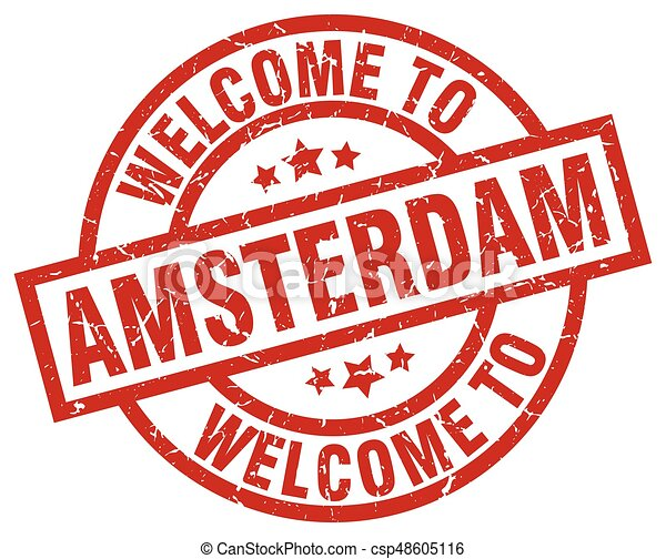 welcome to Amsterdam red stamp - csp48605116