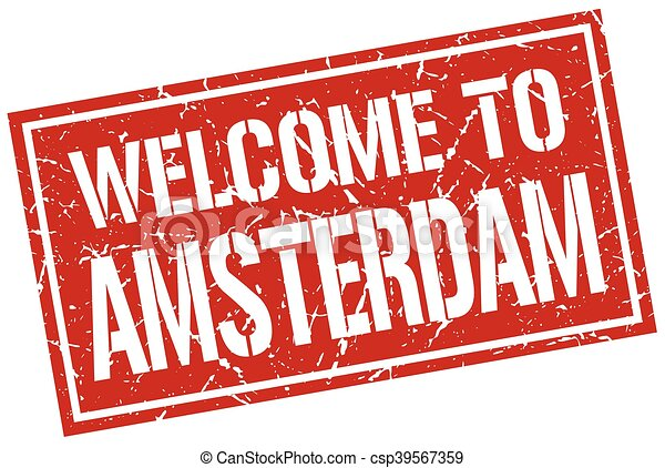 welcome to Amsterdam stamp - csp39567359