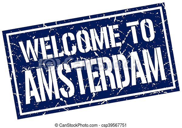 welcome to Amsterdam stamp - csp39567751