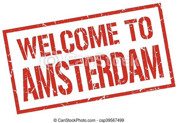 welcome to Amsterdam stamp - csp39567499