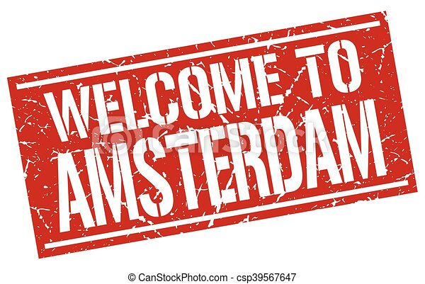 welcome to Amsterdam stamp - csp39567647