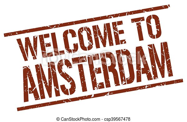 welcome to Amsterdam stamp - csp39567478