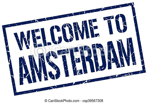 welcome to Amsterdam stamp - csp39567308