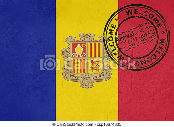 Welcome to Andorra flag with passport stamp - csp16674305