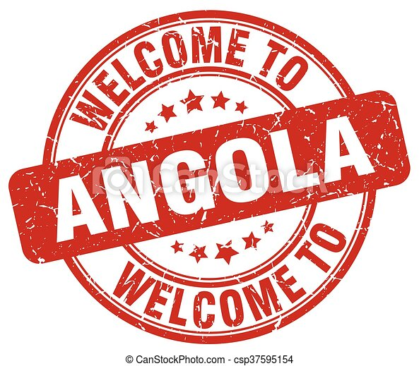 welcome to Angola red round vintage stamp - csp37595154