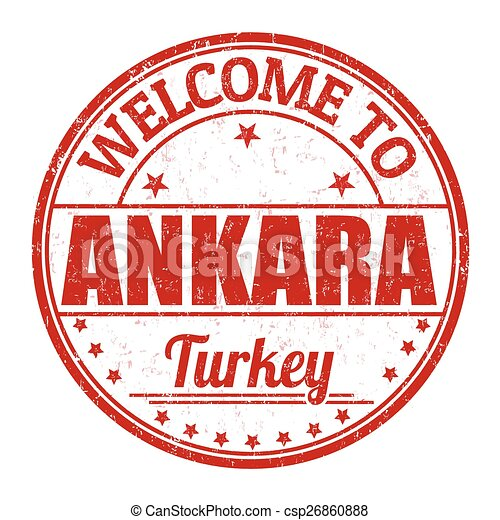 Welcome to Ankara stamp - csp26860888