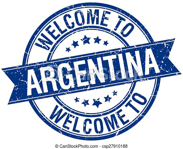 welcome to Argentina blue round ribbon stamp - csp27910188