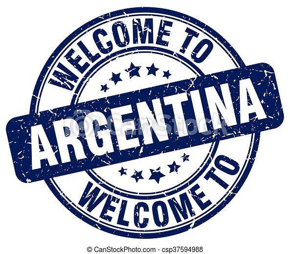 welcome to Argentina blue round vintage stamp - csp37594988
