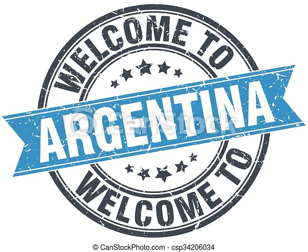 welcome to Argentina blue round vintage stamp - csp34206034