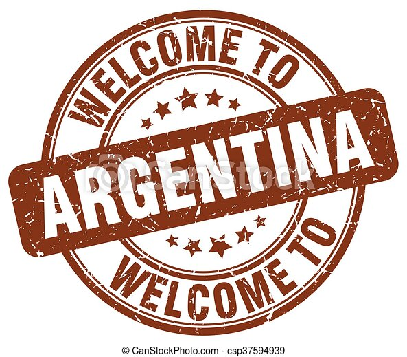 welcome to Argentina brown round vintage stamp - csp37594939