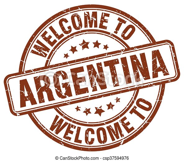 welcome to Argentina brown round vintage stamp - csp37594976