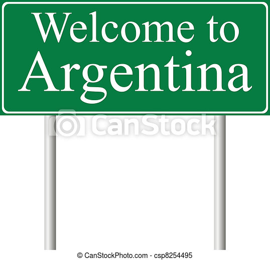 Welcome to Argentina, concept road sign - csp8254495