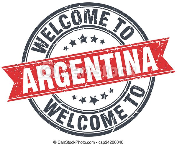 welcome to Argentina red round vintage stamp - csp34206040