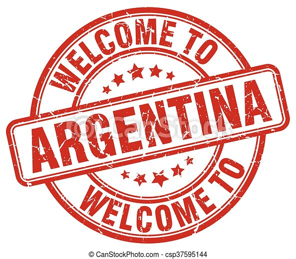 welcome to Argentina red round vintage stamp - csp37595144