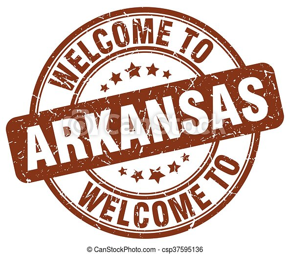 welcome to Arkansas brown round vintage stamp - csp37595136