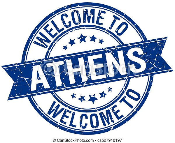 welcome to Athens blue round ribbon stamp - csp27910197