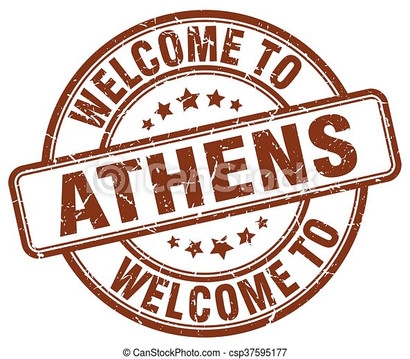 welcome to Athens brown round vintage stamp - csp37595177